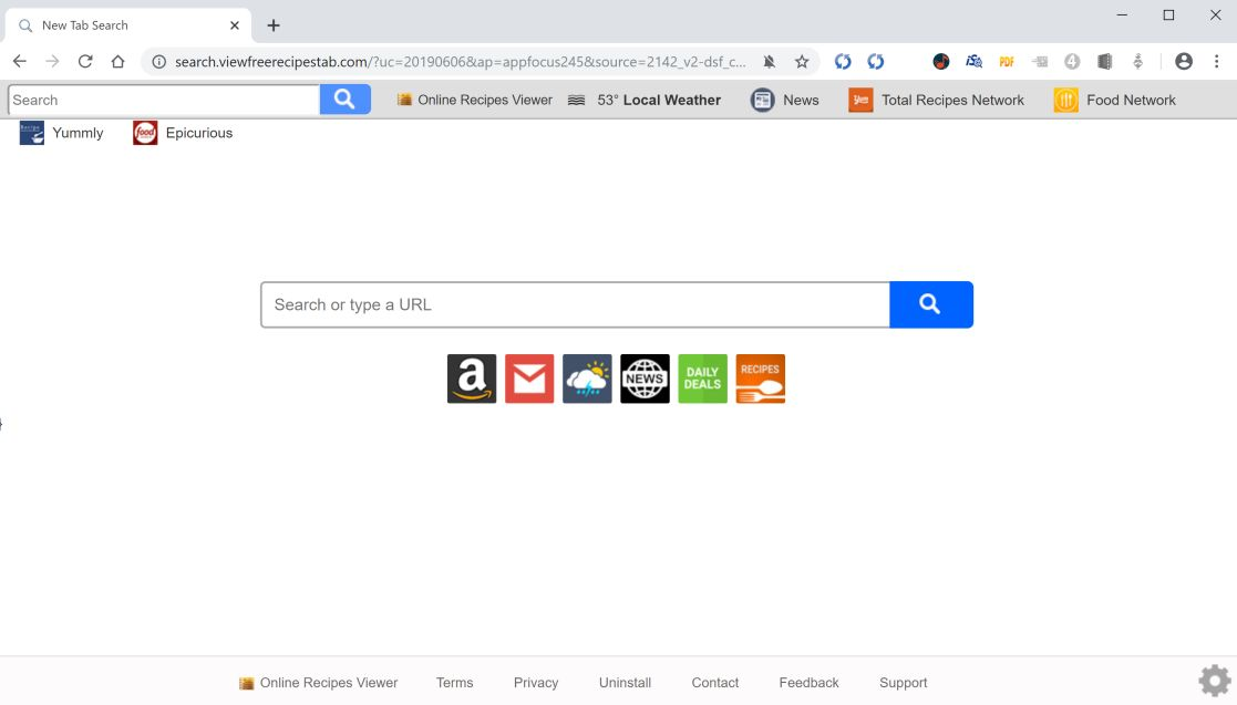 Image: Chrome browser is redirected to search.viewfreerecipestab.com