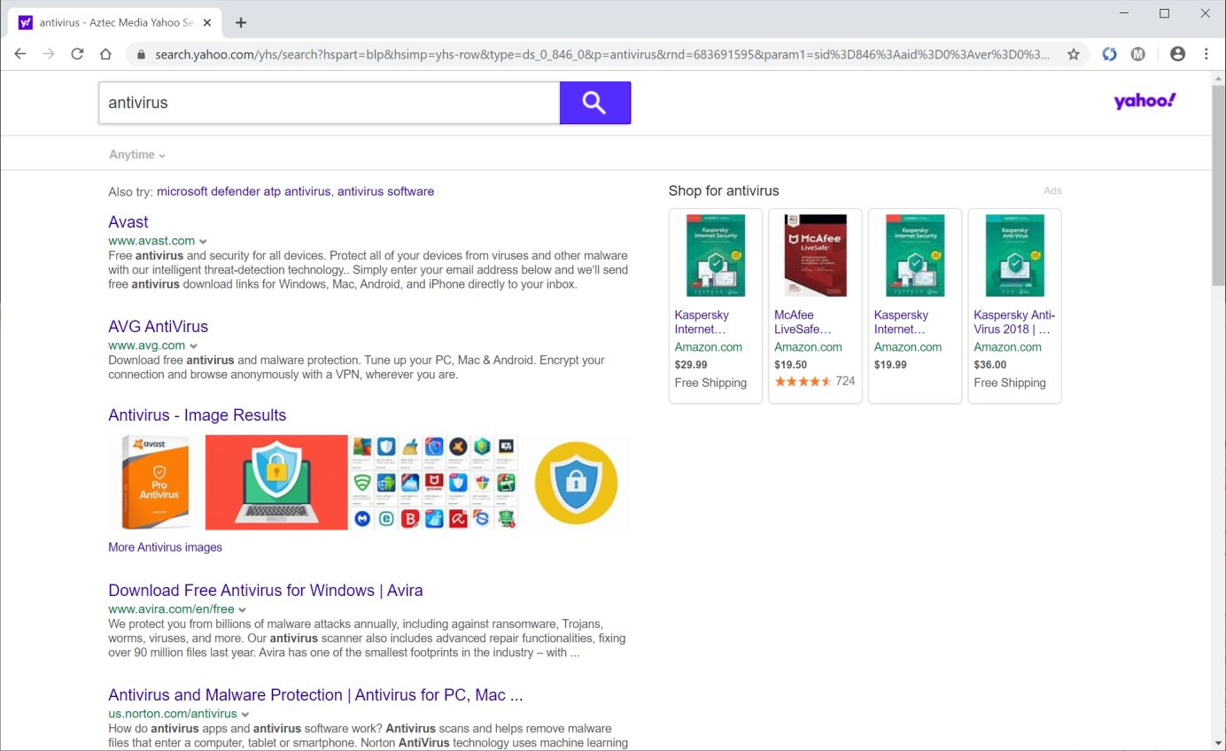 Image: Chrome browser is redirected to Search.yahoo.com