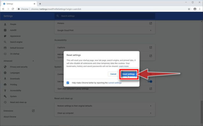Click on Reset Settings to restore Google Chrome to its default settings link