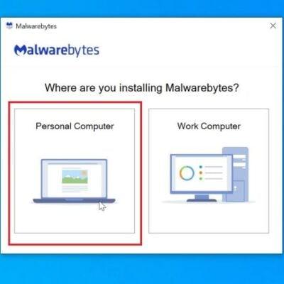 Malwarebytes setup: Click on Personal Computer