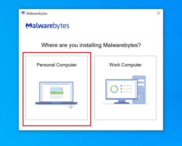 Malwarebytes setup: Click on Personal Computer step