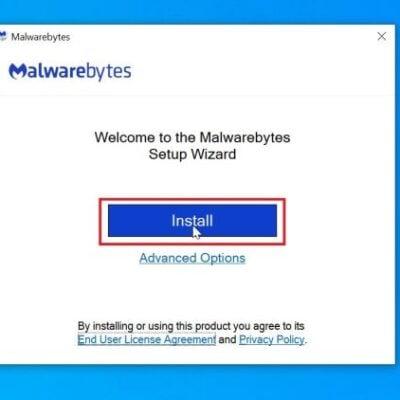 Malwarebytes Setup: Click on Install