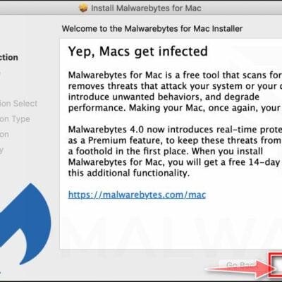 Click Continue to install Malwarebytes