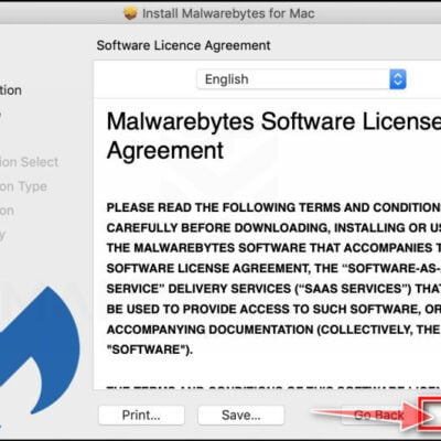 Click again on Continue to install Malwarebytes for Mac