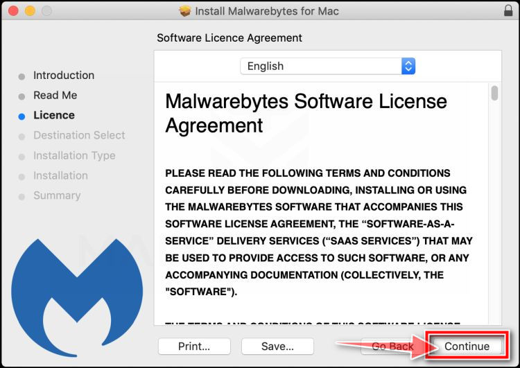 Click again on Continue to install Malwarebytes for Mac for Mac