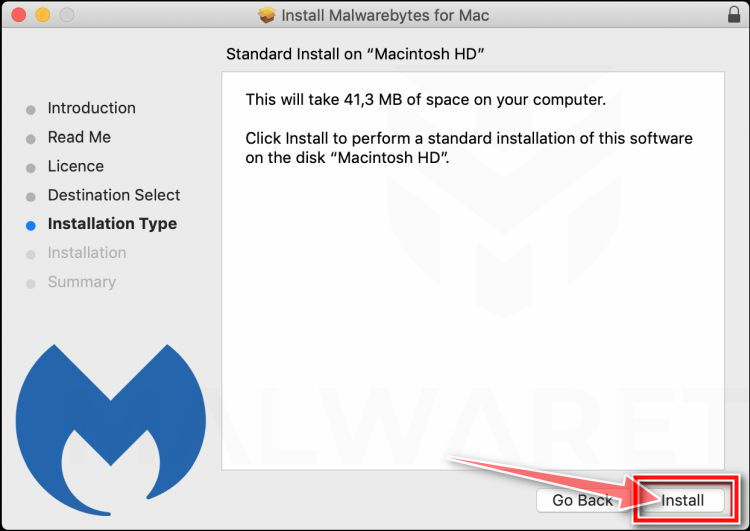 Click Install to install Malwarebytes on Mac