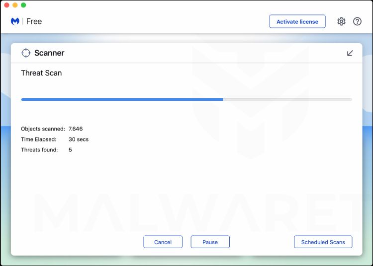Wait for Malwarebytes for Mac to scan for TechAdviseSearch adware