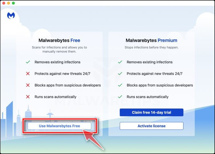 Click on Use Malwarebytes Free Mac