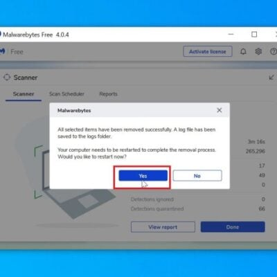 Restart computer to complete malware removal process