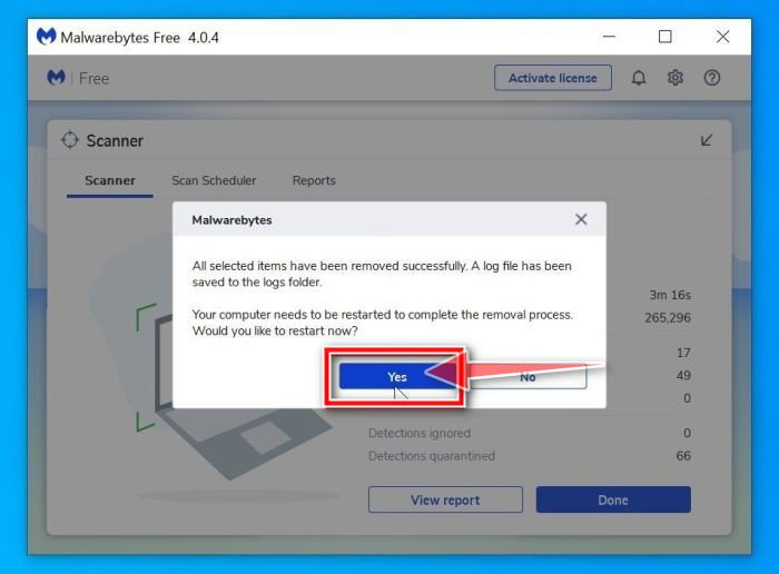 Malwarebytes requesting to restart computer to complete the ARASUF ransomware removal process