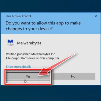 Windows asking for permission to run the Malwarebytes Free installer