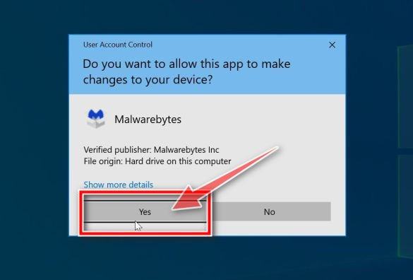 Windows asking for permission to run the Malwarebytes installer