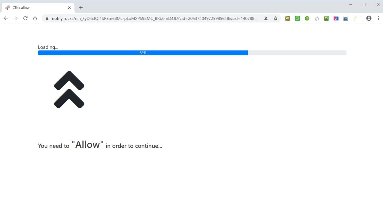 Image: Chrome browser is redirected to Notify.rocks