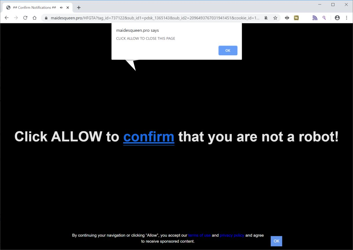 Image: Chrome browser is redirected to Maidesqueen.pro