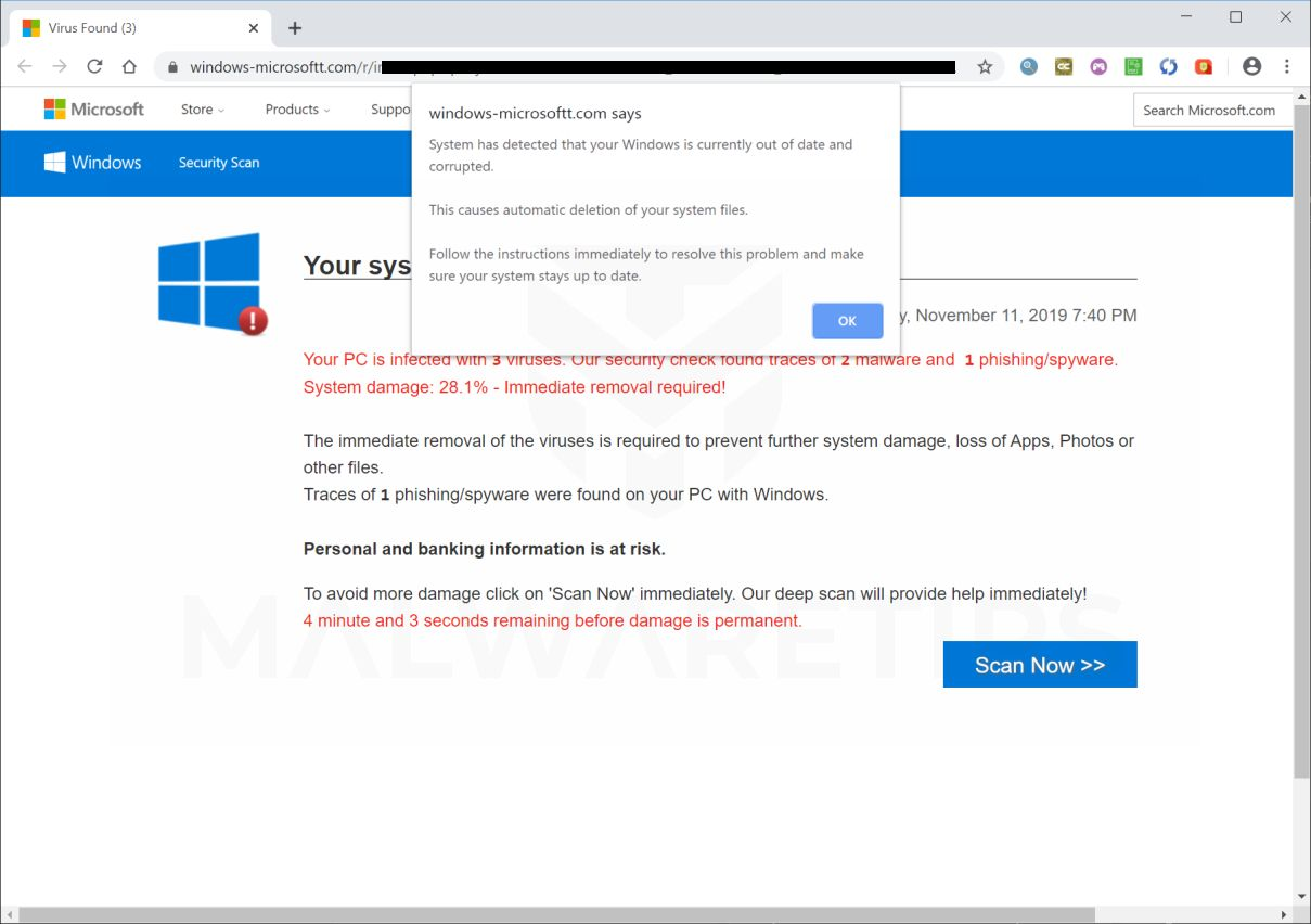 Image: Windows-microsoftt.com Fake Error Messages