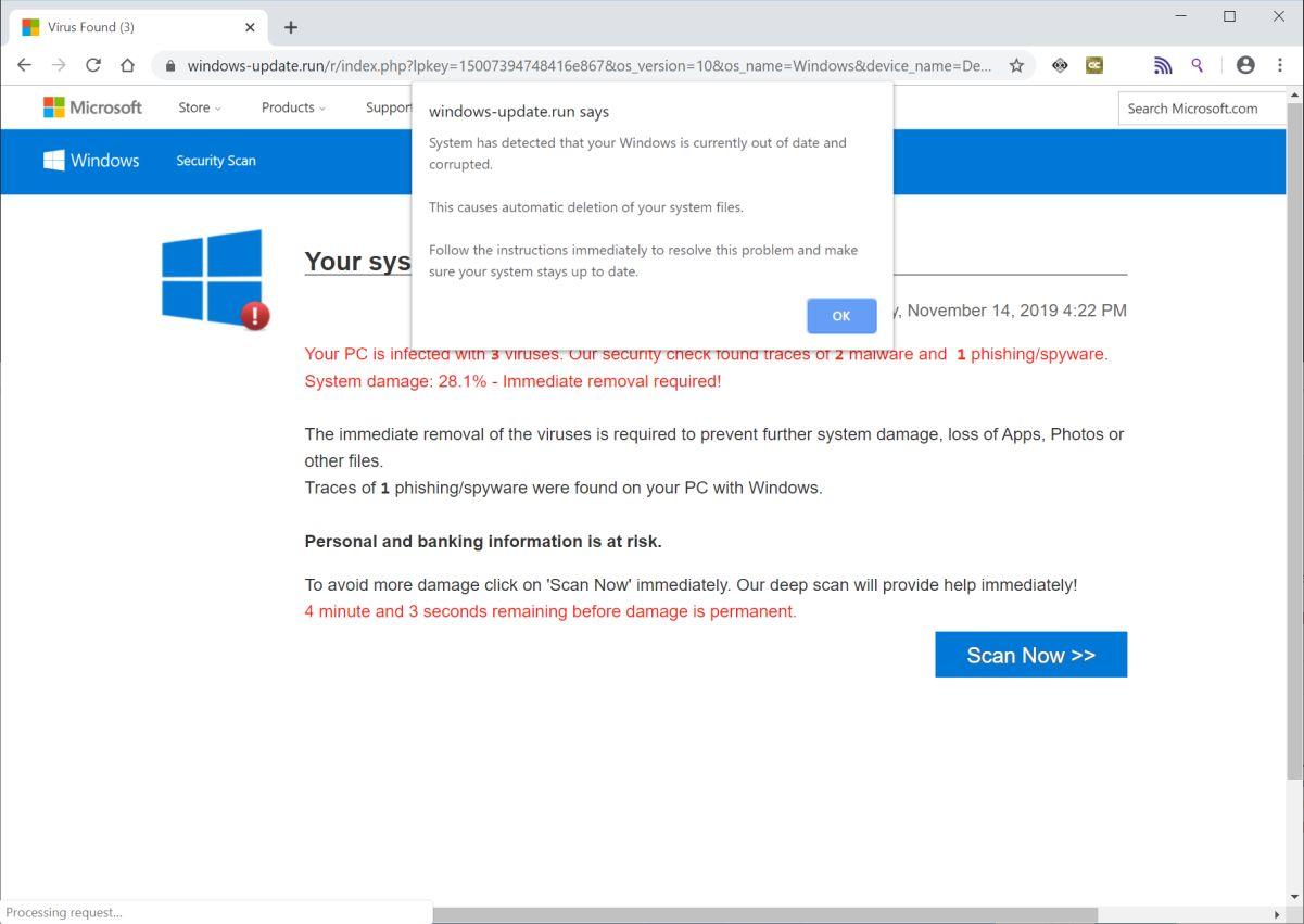 mage: Windows-update.run Fake Error Messages