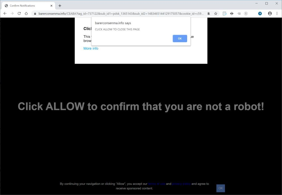 Image: Chrome browser is redirected to Barerconsenma.info