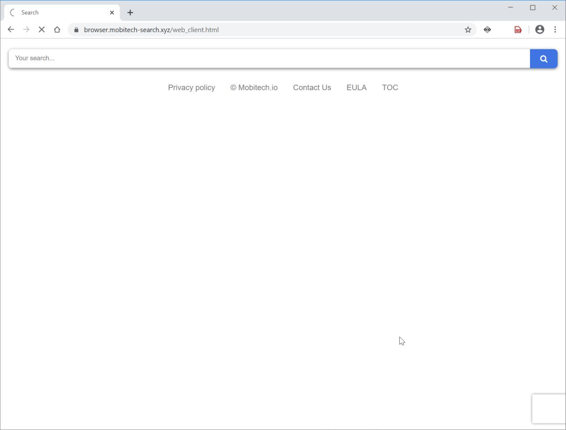 Image: Chrome browser is redirected to Browser.mobitech-search.xyz