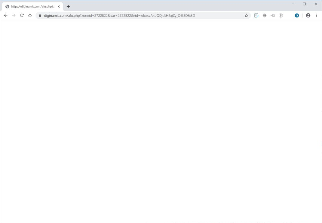 Image: Chrome browser is redirected to Diginamis.com