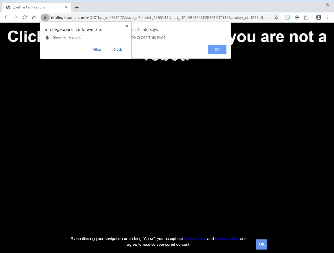 Image: Chrome browser is redirected to Ntrollegebouncils.info