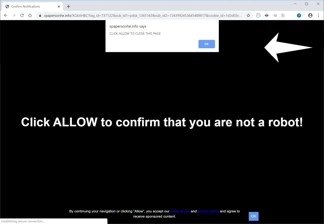 Image: Chrome browser is redirected to Spapersonhe.info