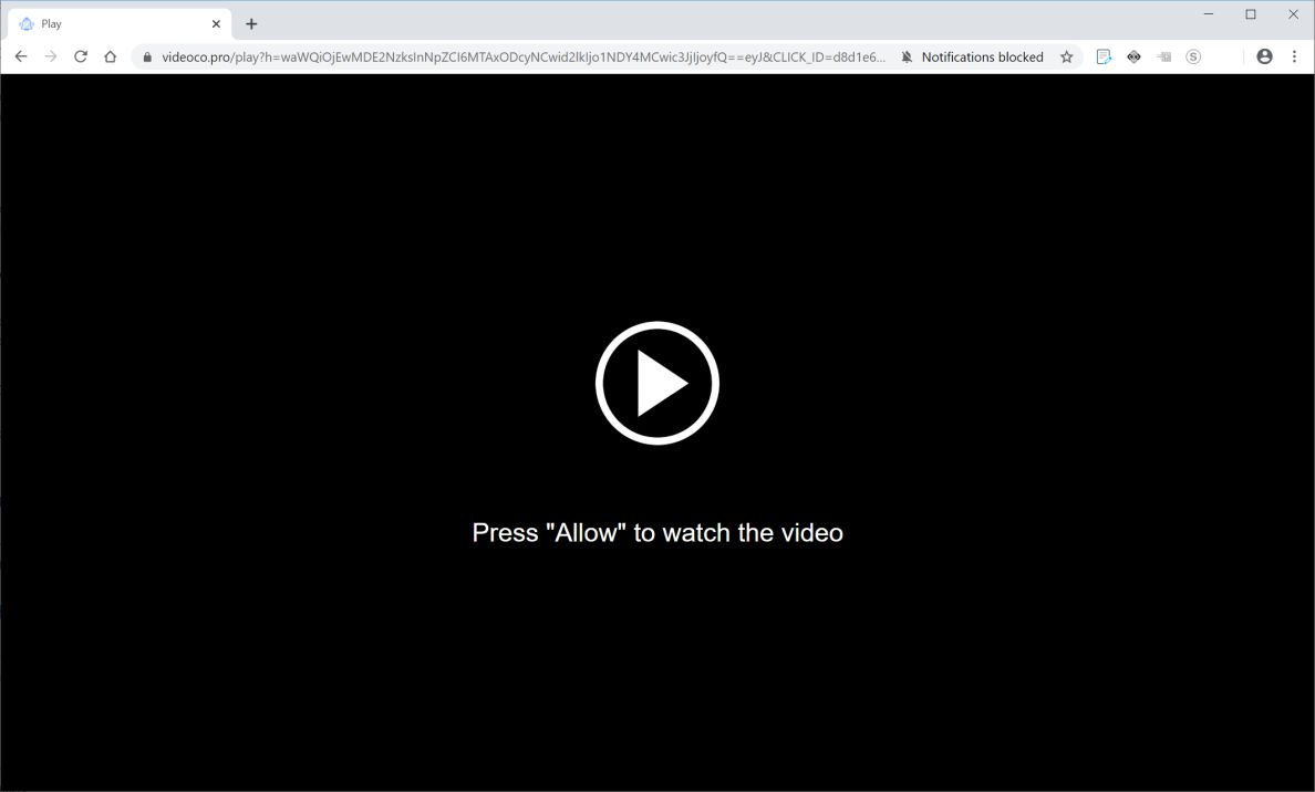 Image: Chrome browser is redirected to Videoco.pro
