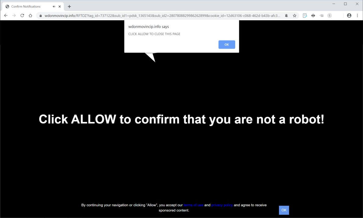 Image: Chrome browser is redirected to Wdonmovincip.info