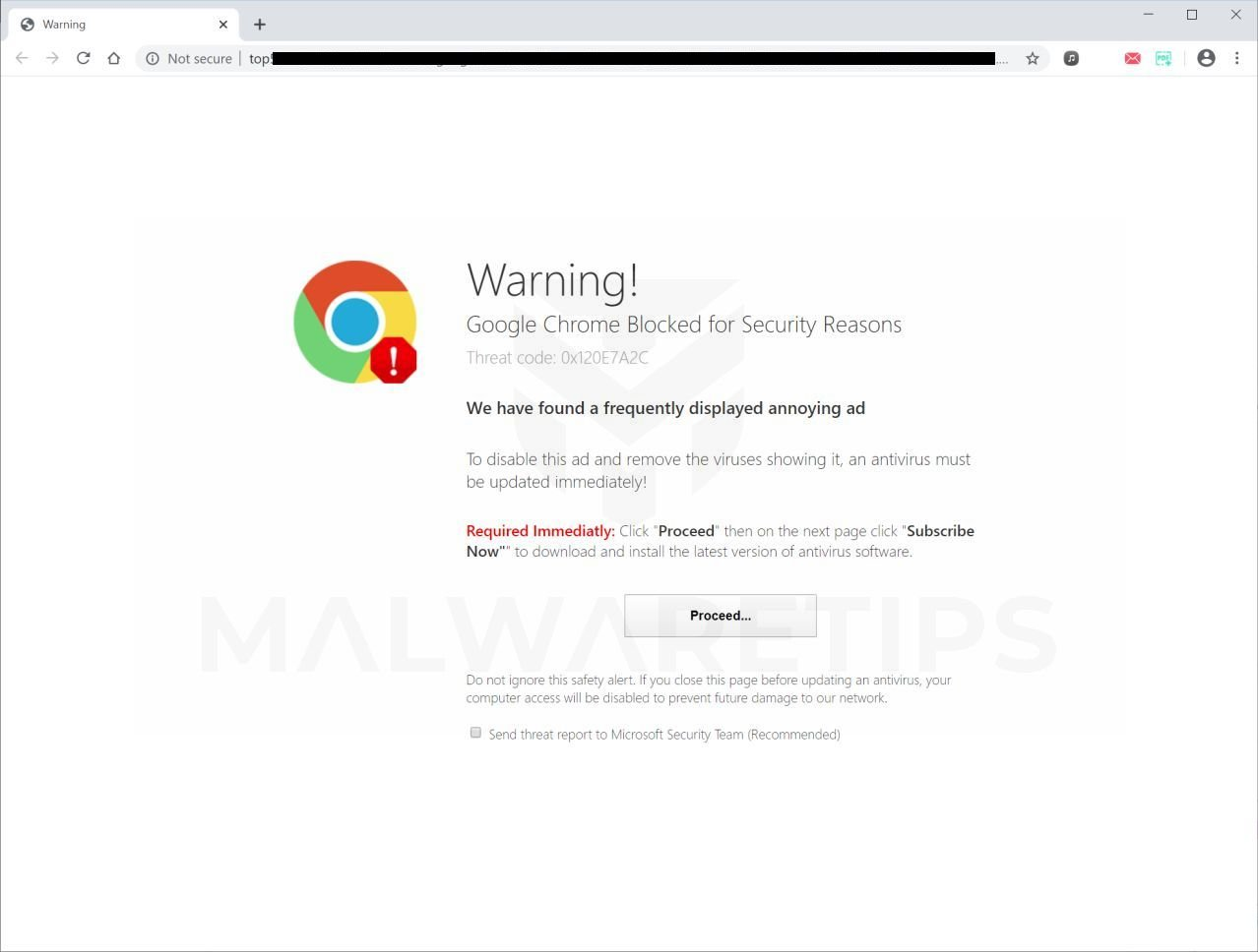 Image: Google Chrome Blocked for Security Reasons - Scam