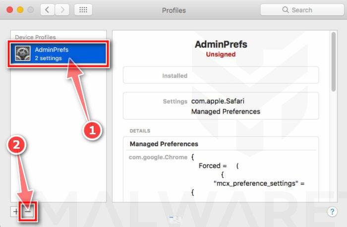 Entfernen Sie schädliche Profile von Ihrem Mac