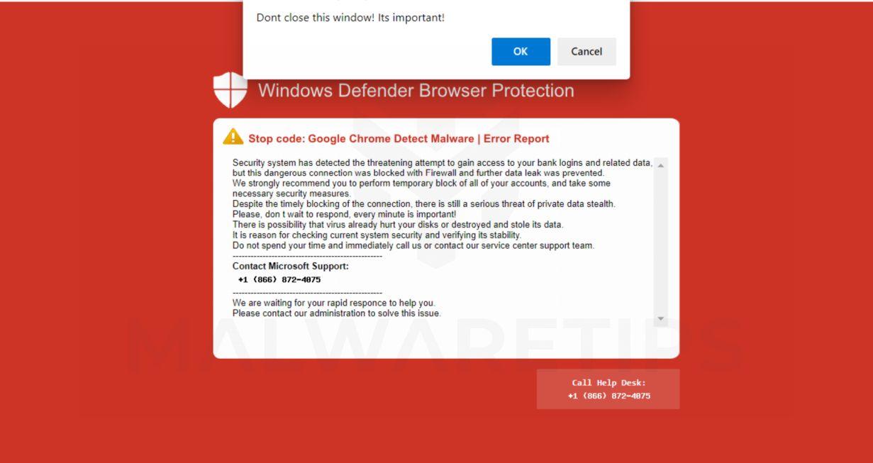 Image: Windows Defender Browser Protection fake error message
