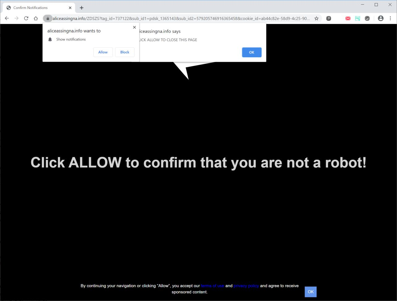 Image: Chrome browser is redirected to Aliceassingna.info
