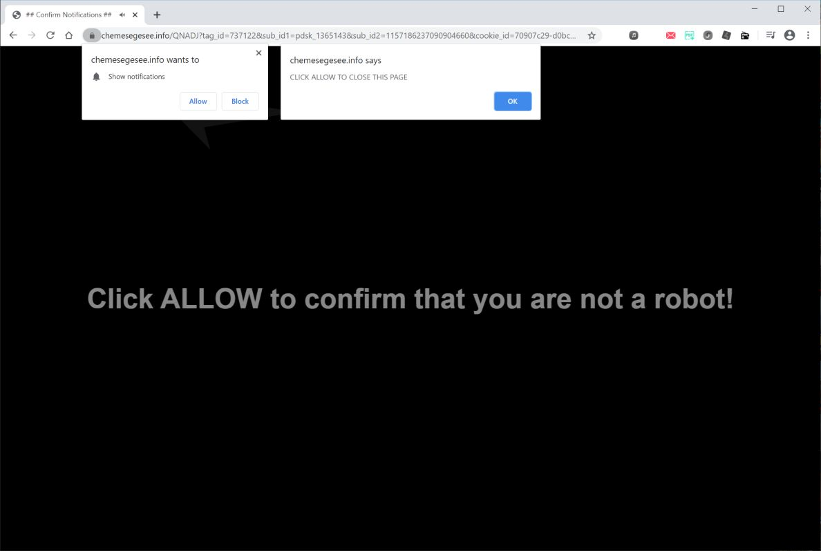 Image: Chrome browser is redirected to Chemesegesee.info