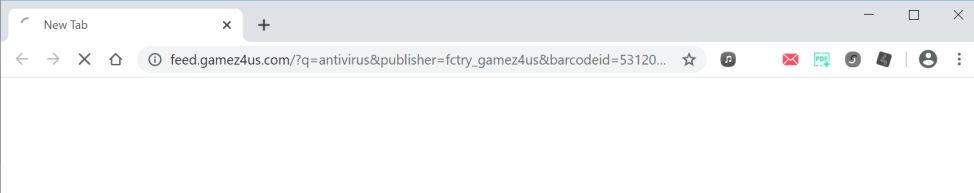 Image: Chrome browser is redirected to Feed.gamez4us.com