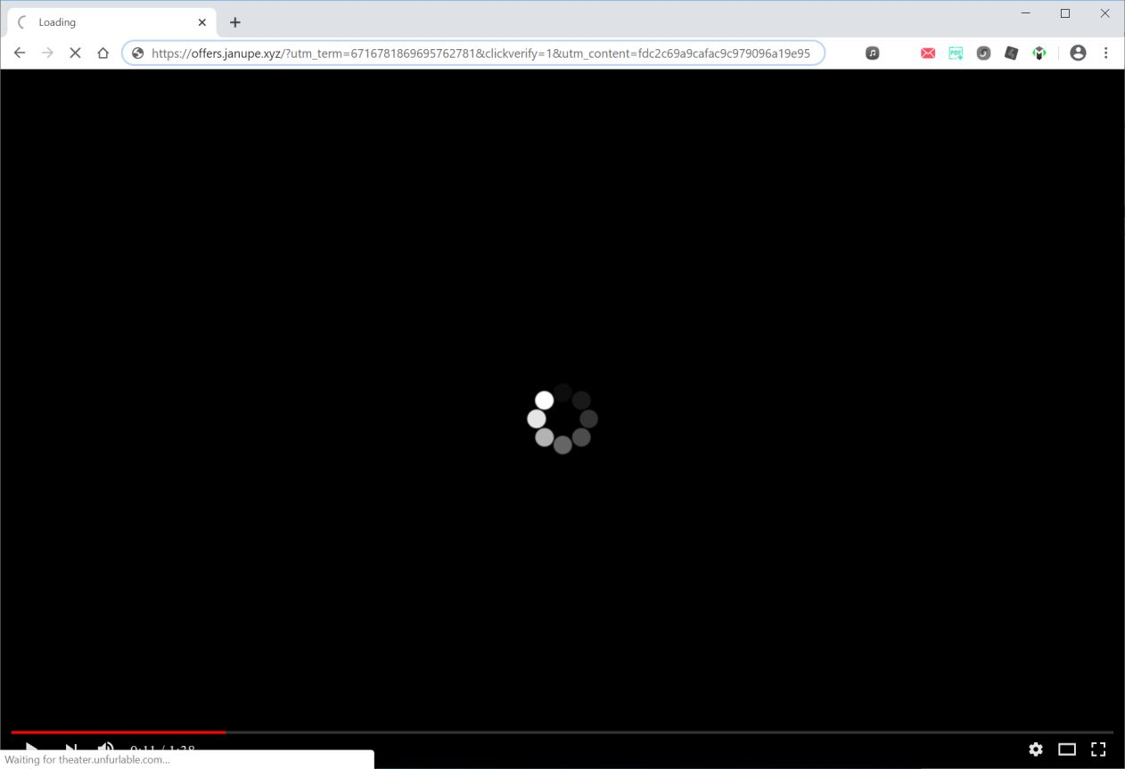 Image: Chrome browser is redirected to Offers.janupe.xyz