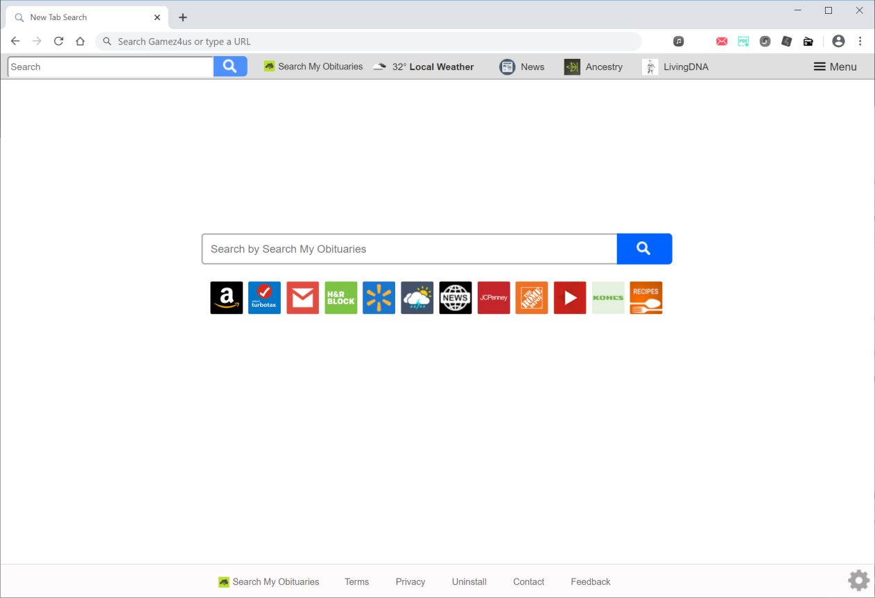Image: Chrome browser is redirected to search.searchmyobituariestab.com