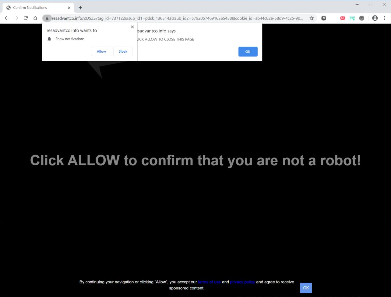 Image: Chrome browser is redirected to Resadvantco.info