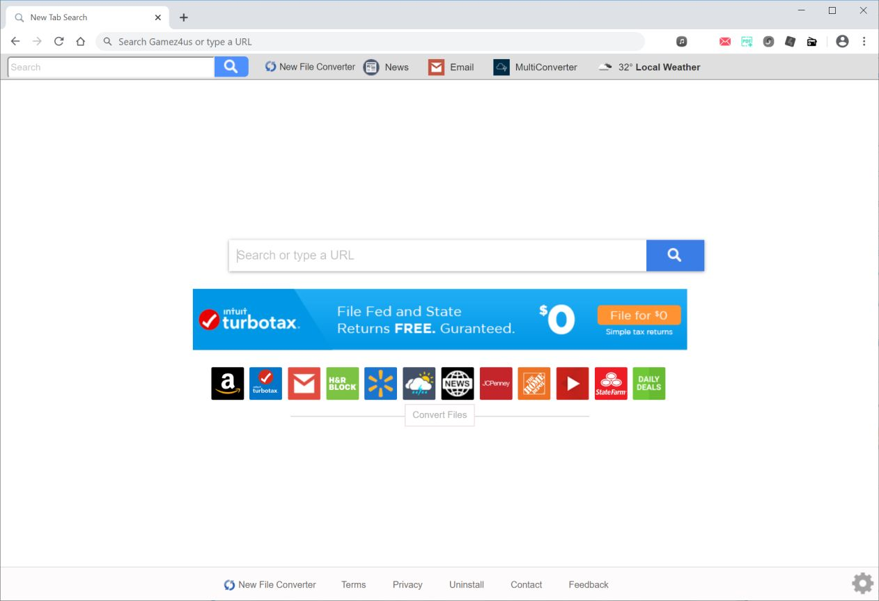 Image: Chrome browser is redirected to search.newfileconvertertab.com