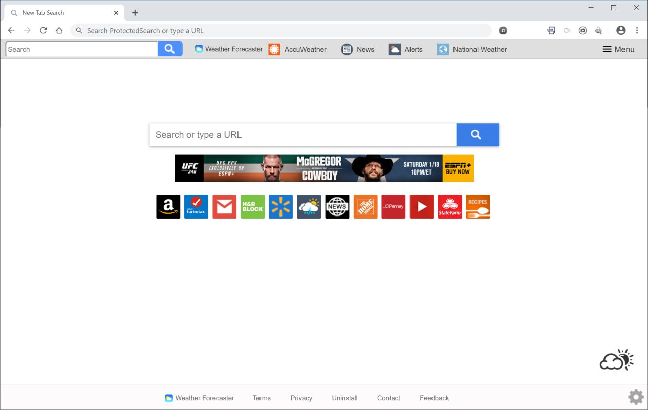 Image: Chrome browser is redirected to search.weatherforecastertab.com