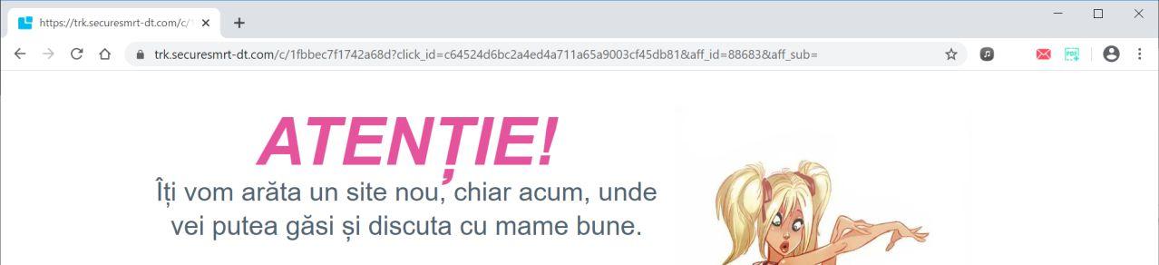 Image: Chrome browser is redirected to Trk.securesmrt-dt.com