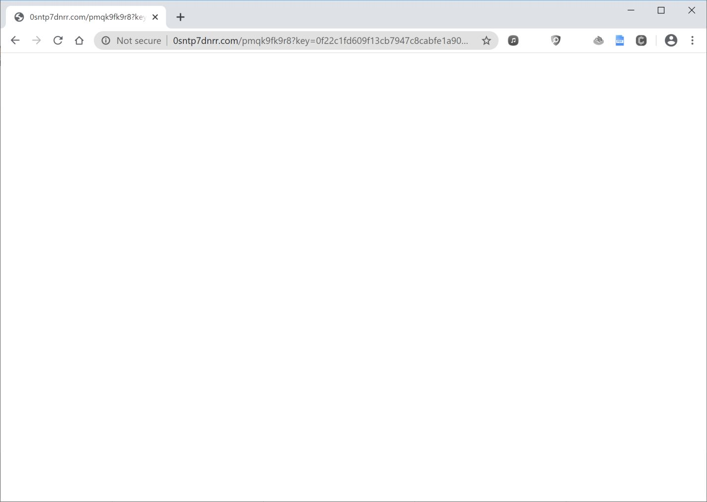 Image: Chrome browser is redirected to 0sntp7dnrr.com
