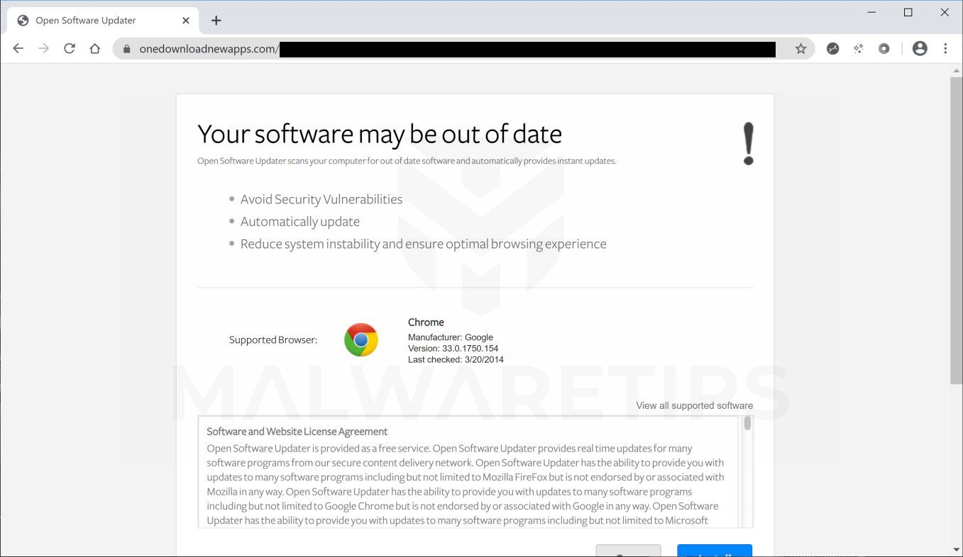 Image: Chrome browser is redirected to Onedownloadnewapps.com