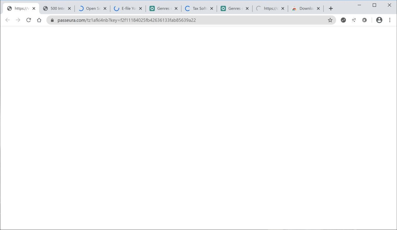 Image: Chrome browser is redirected to Passeura.com