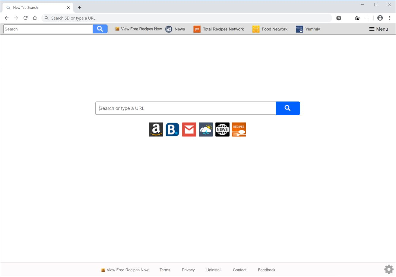 Image: Chrome browser is redirected to search.viewfreerecipesnowtab.com