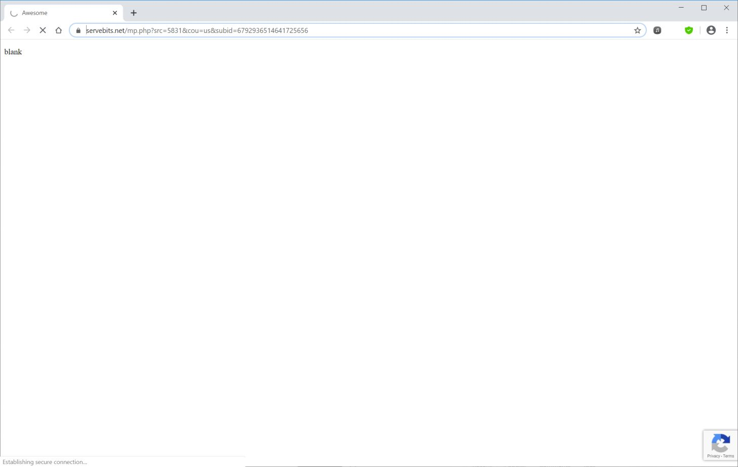 Image: Chrome browser is redirected to Servebits.net