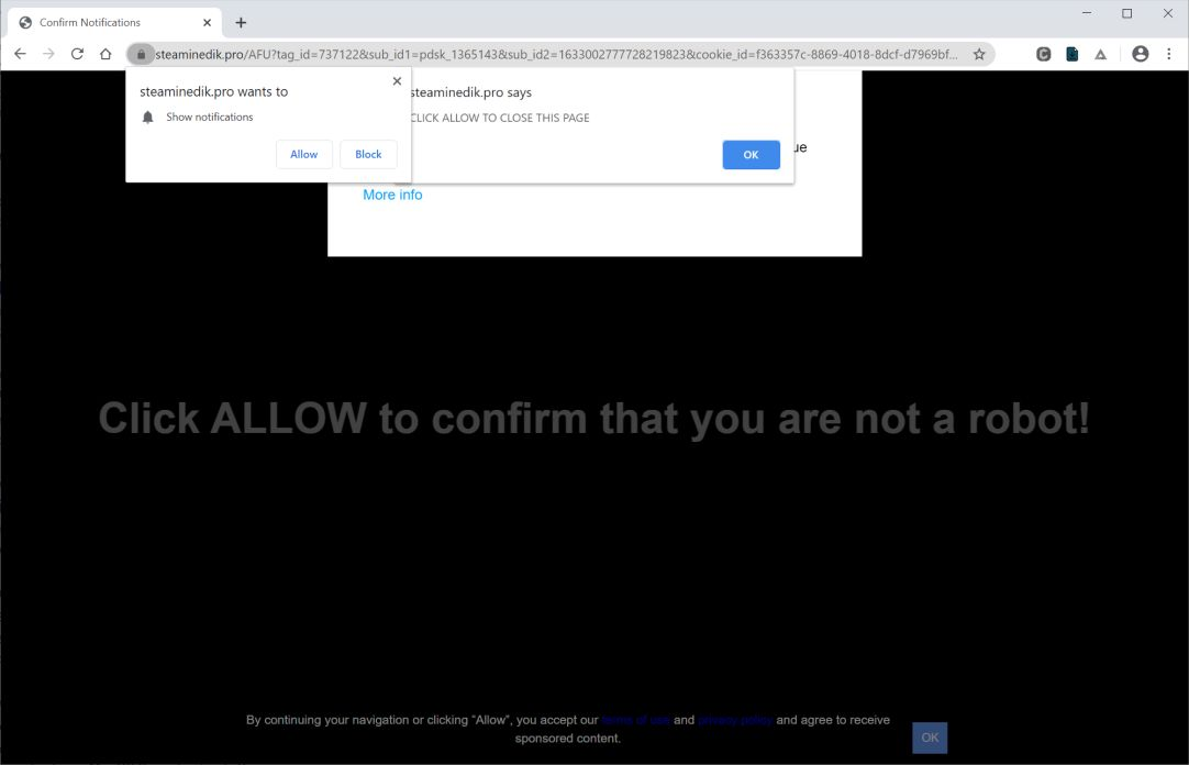 Image: Chrome browser is redirected to Steaminedik.pro