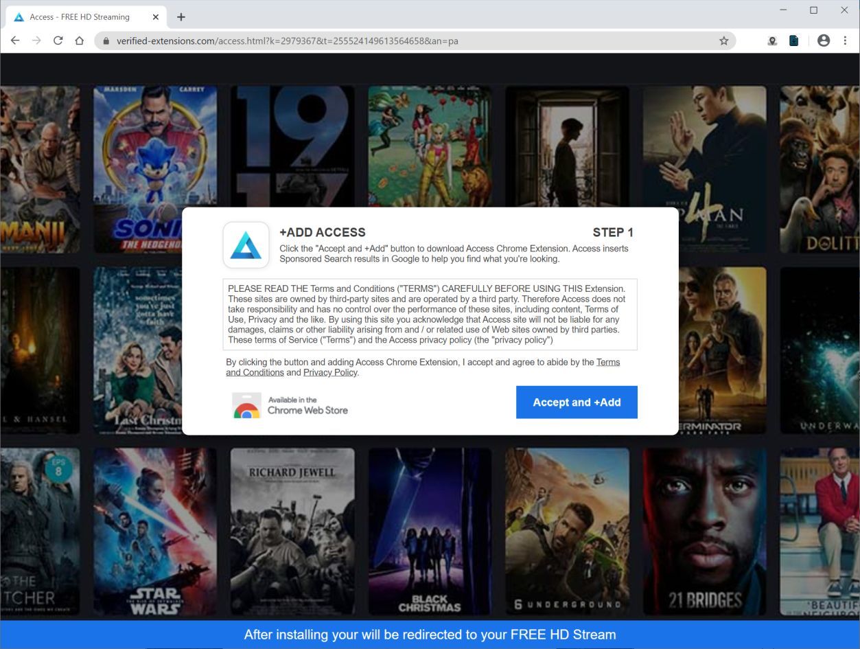 Image: Chrome browser is redirected to Verified-extensions.com