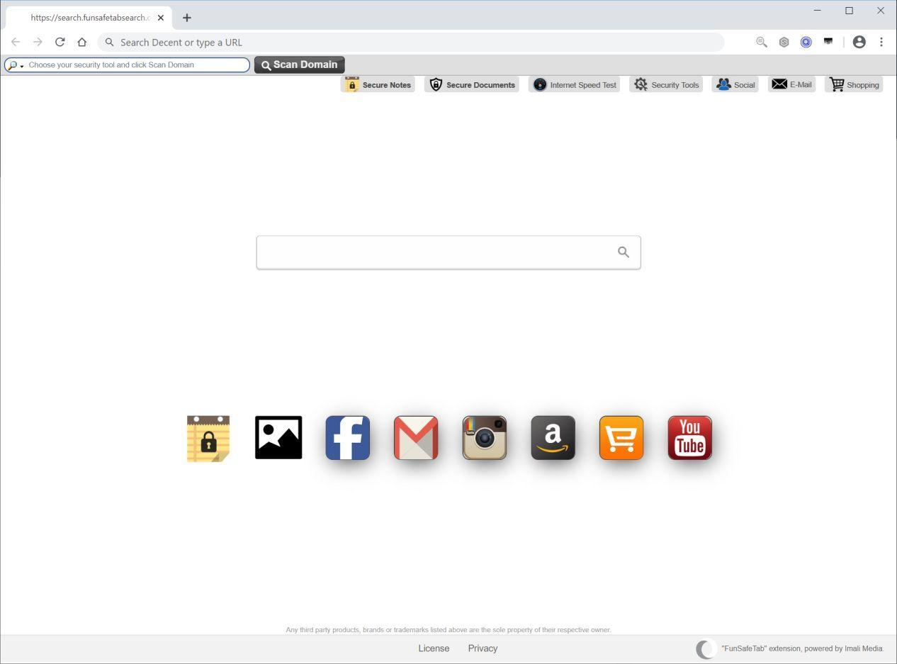 Image: Chrome browser is redirected to FunSafeTab