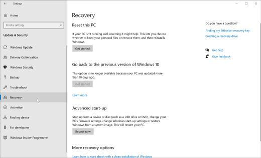 Recovery window in Windows 10