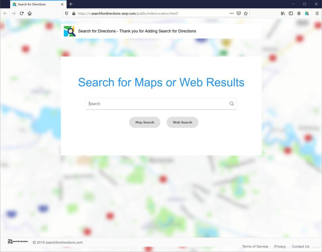 Image: Chrome browser is redirected to Search For Directions