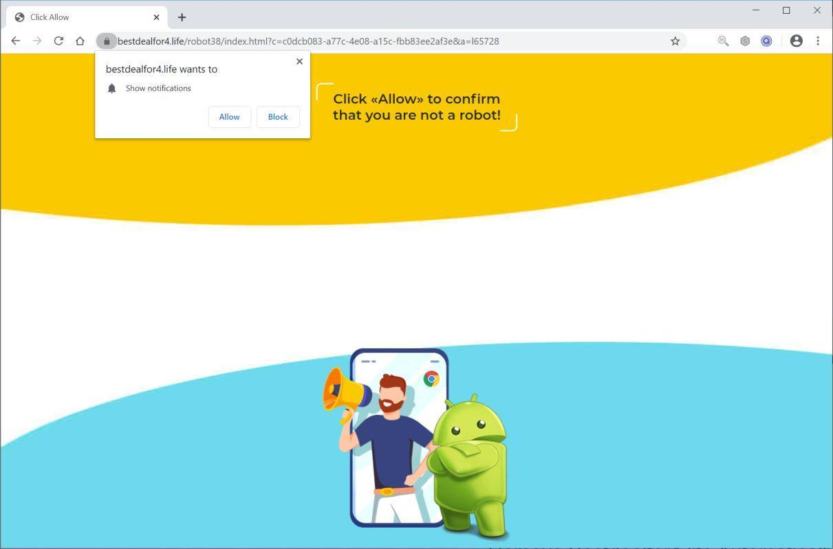 Image: Chrome browser is redirected to Bestdealfor4.life